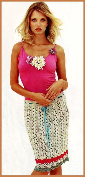 Схемы вязания платьев.  Вязание спицами.  Ажурная Юбка с цветными полосками связанная на спицах своими руками.