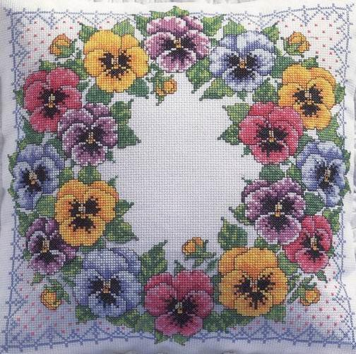 Bucilla Pansy pillow (504x502, 79Kb)