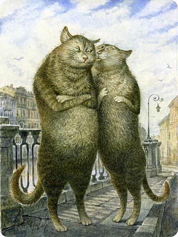 """Схема вышивки  """"Кошачья жизнь.  Любовь """" ."""