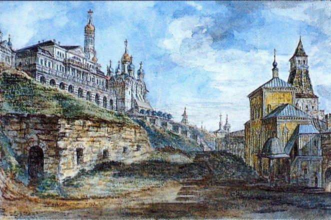 Вид на Государев двор и церковь Благовещенья в Житном дворе1800. (662x441, 121Kb)