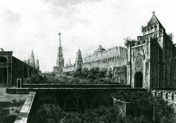 Вид Никольской башни и ворота Московского Кремля (справа) и рвом на месте современного кладбища возле Кремлевской стены и (частично) Красная площадь.1800. (700x489, 78Kb)