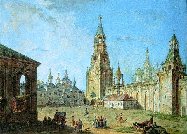 Вид Спасских ворот в Кремле.1800-1802. (640x459, 89Kb)