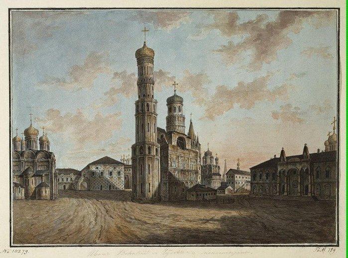 Чудов монастырь и Колокольня Ивана Великого 1800 (700x519, 103Kb)
