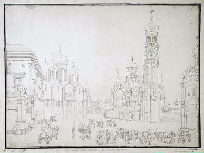 Алексеев, Федор - Вид Соборной площади, рисунокЭрмитаж (700x524, 111Kb)