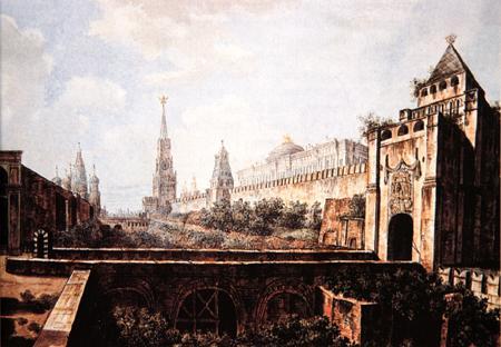 Никольская башня Кремля и Алевизов ров (на месте современного некрополя у кремлёвской стены). Акварель Ф. Я. Алексеева, около 1800-1802  цветная (450x312, 28Kb)