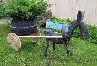 что можно сделать из обычных велосипедных и машинных шин для детей (например в детском саду или во дворе)...