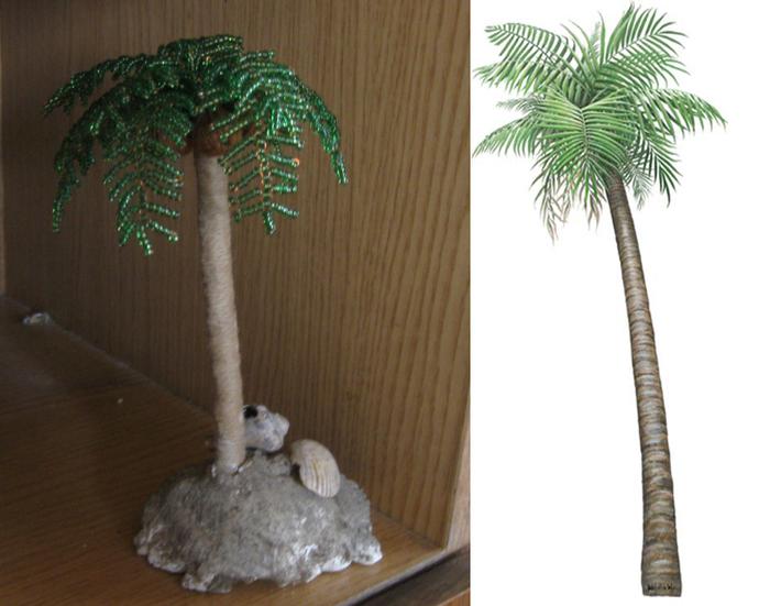 Пальма из бисера.  Мастер-класс.  Для такой пальмы потребуется. зеленый полупрозрачный бисер. медная проволока...