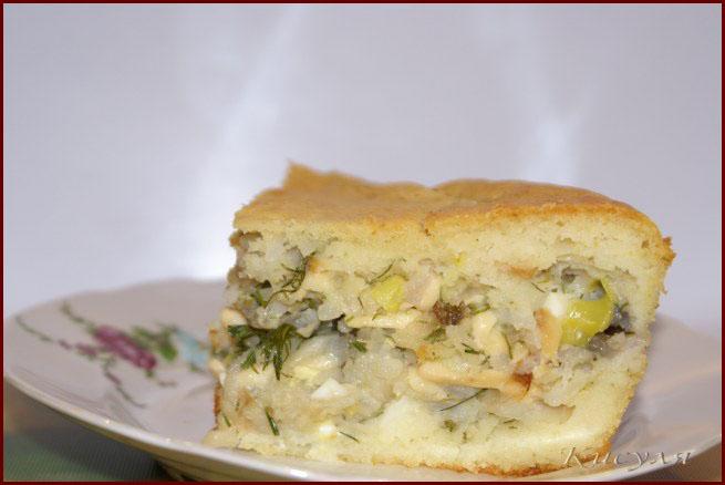 Пирог с рыбой и колбасным сыром