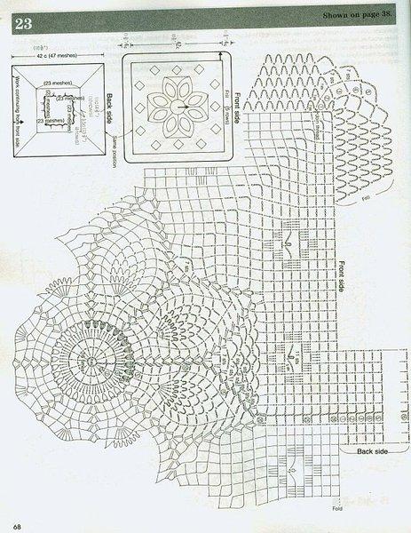 Описание: схема вязания ажурного берета крючком.