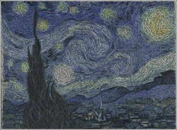 """starry night"" van gogh of the tin lids and known words."