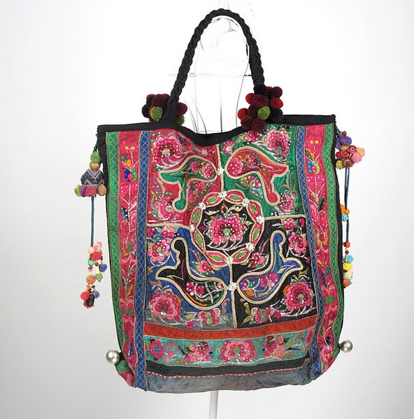 Tribal Vintage Fabric Women Boho Bag 5 (592x600, 116Kb)