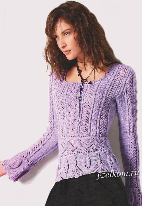 Вязание.  Романтичный ажурный пуловер.