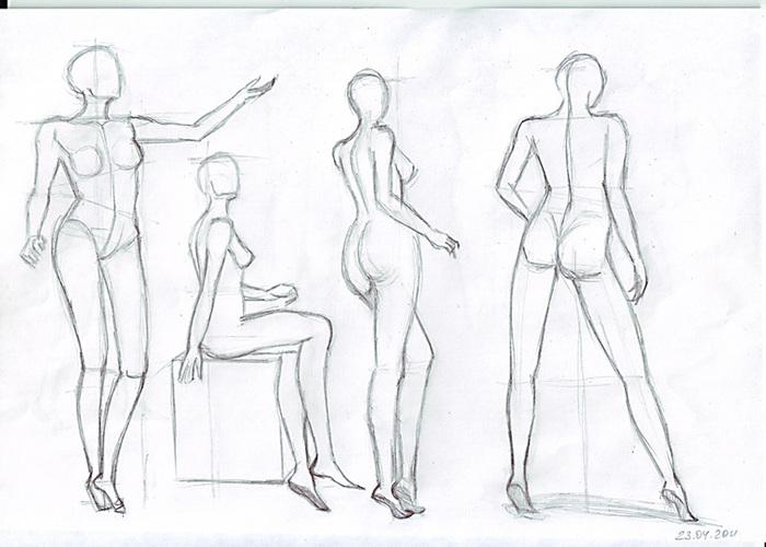 Как научиться рисовать в полный рост девушку карандашом поэтапно