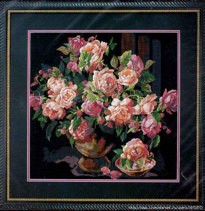 """Предпросмотр - Схема вышивки  """"Розы в вазе """" - Схемы автора  """"pantera74 """" - Вышивка крестом."""