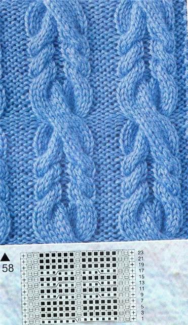 узоров вязания на спицах шишечки косы.