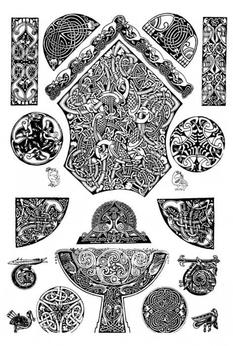 Виниловая наклейка на капот Кельтские узоры.  Сравнить.
