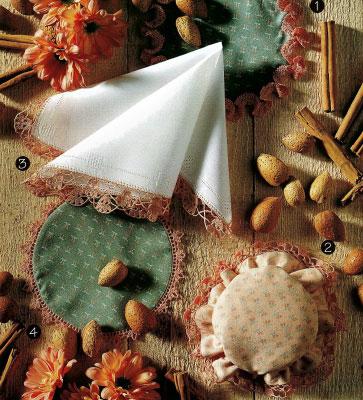 Декоративные мелочи.  Как выполнить обвязку носового платка,чехлов на баночки,подставки под горячее.
