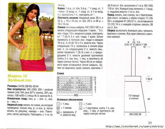 Вязание топов спицами схемы с описанием 164