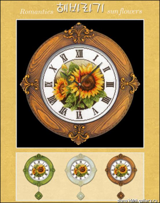 Часы  с римск. цифрами подсолнухи (553x700, 216Kb)