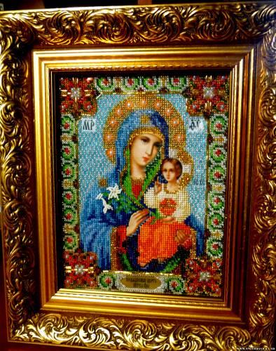 """Икона Божьей матери  """"Неувядаемый цвет """" Вышита по благословению батюшки,освящена.  Материал: выполнена чешским бисером..."""