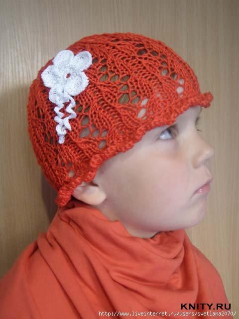 Описание: летняя вязаная шапочка для девочки на.