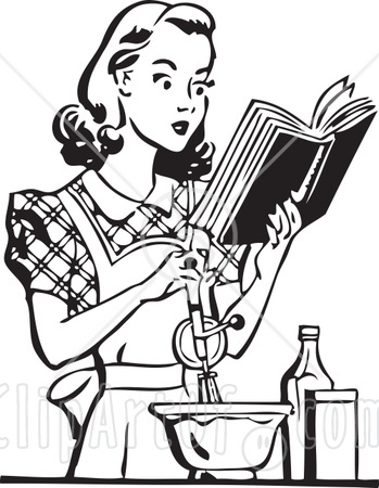 210012-Royalty-Free-RF-Clipart-Illustration-Of-A-Retro-Black-And-White-Woman-Baking-And-Reading-A-Cook-Book (349x450, 106Kb)
