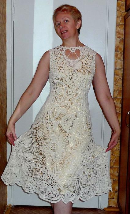 Схемы вязания платья ирландским кружевом
