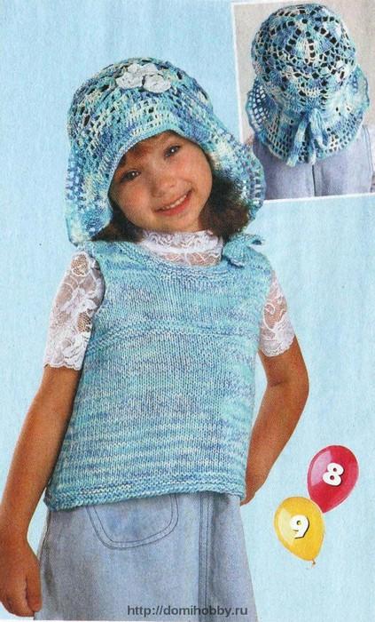 Панамка вязаная крючком для девочки 6 лет.