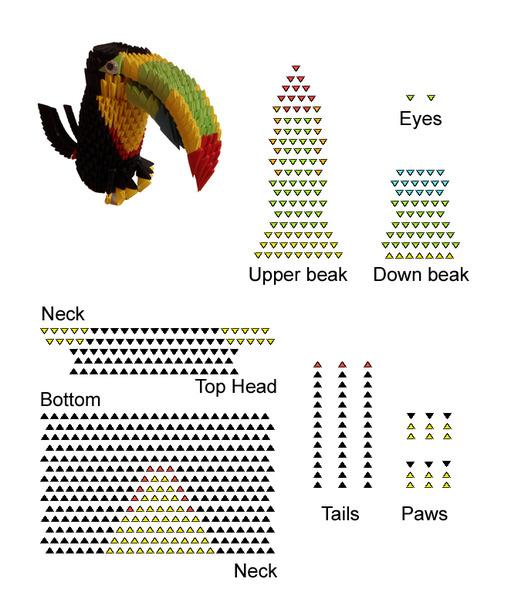 Оригами. Попугай. Схема