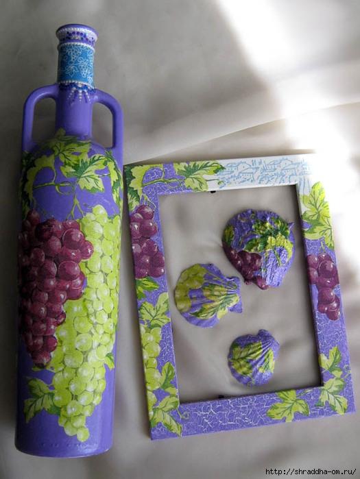 набор Виноградные гроздья, бутылка, рамка для фото, ракушки, кракелюр, декупаж, акрил, Shraddha 1 (525x700, 219Kb)