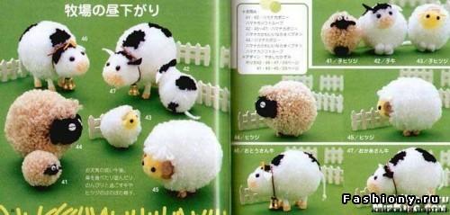 Самые обычный помпон+фантазия =замечательные игрушки! язык японский.