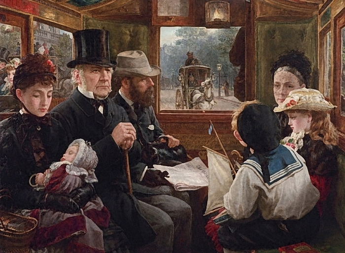 Alfred Morgan.English Painter, 1862-1904 One of the People (Gladstone in an Omnibus)1885 (700x514, 305Kb)