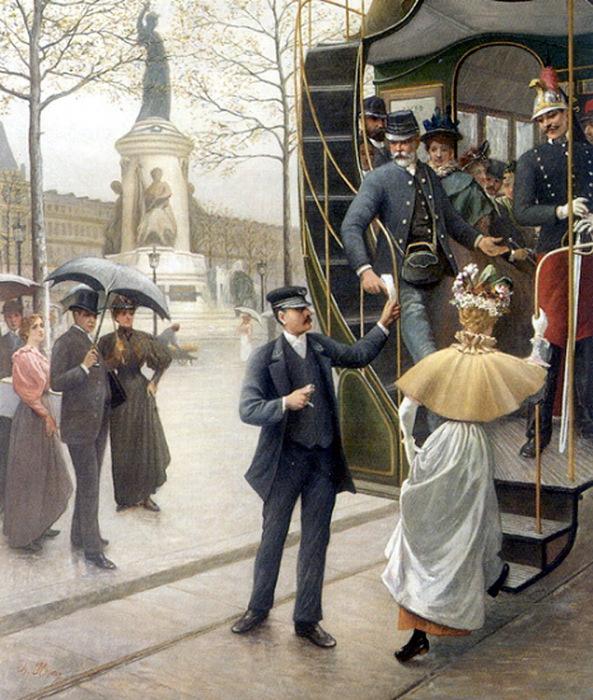 Houry Charles Borromee Aantoine Catching the Trolley (593x700, 182Kb)