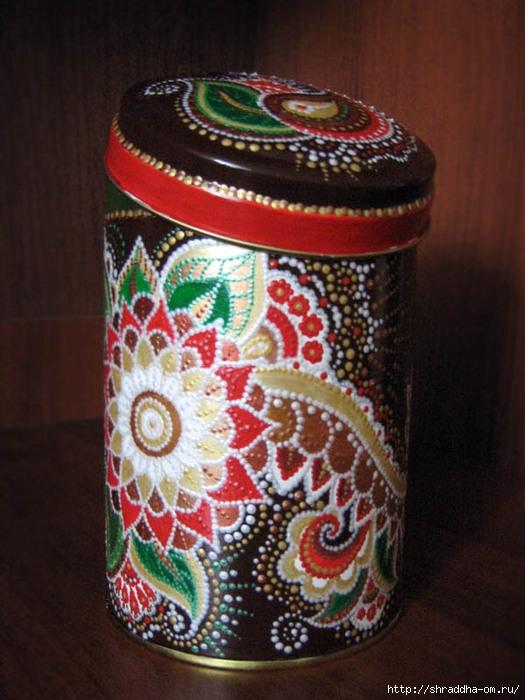 декоративная банка, техника point to point, шоколад с перцем, акрил, Shraddha 1 (525x700, 230Kb)