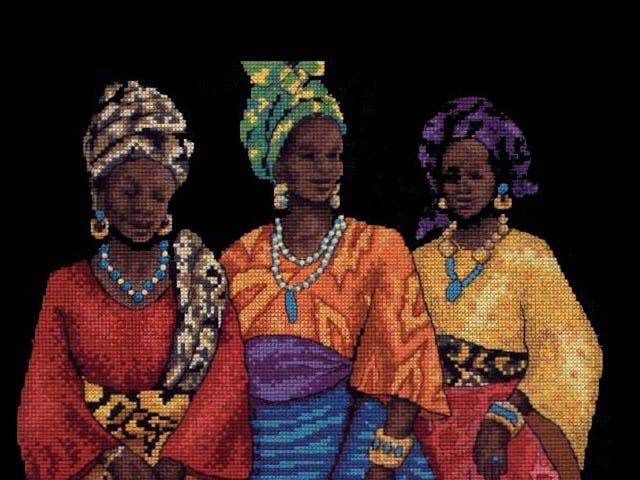 """Схема - 35092 -  """"Three Yoruban Women """", фото 1 - I.B.STUDIO-вышивка бисером, канва с рисунком, схемы для вышивки..."""
