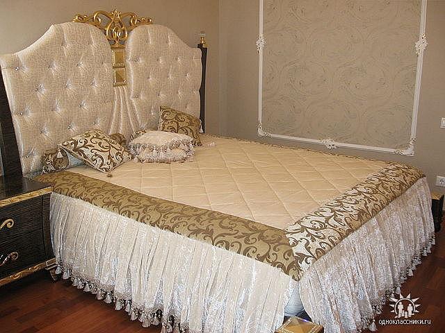 Покрывало на кровать в спальню фото своими руками