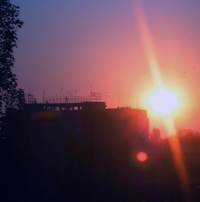 рассвет, солнце, одесса, дом на фоне солнца