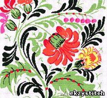 Схема для вышивки крестом - Петриковская роспись (230x211, 6 цветов) .