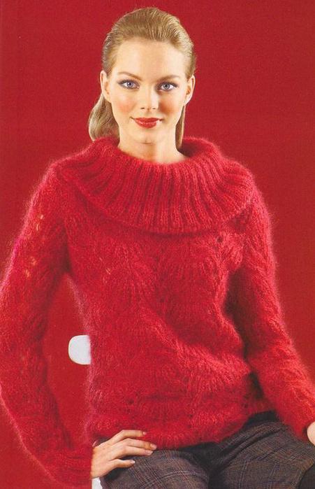 Пуловер с воротником хомут.