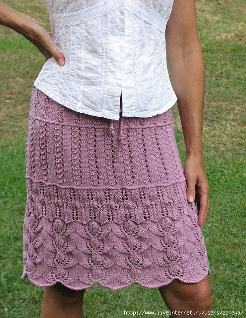 Схема вязки юбки спицами