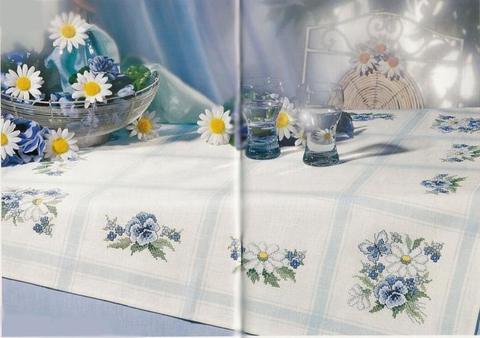 Схема вышивок скатерти