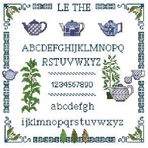 Алфавиты и сэмплеры Алфавит с чайниками.