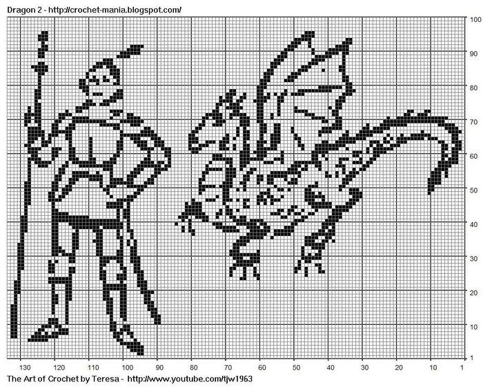 Следующий 2012 год - год Дракона.  Схемы филейного вязания драконов будут весьма кстати для вязания крючком и спицами...