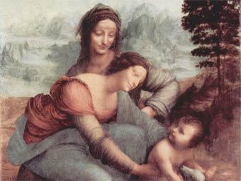 Леонардо да Винчи. Святая Анна с Марией и младенцем Христом (фрагмент). (340x255, 19Kb)