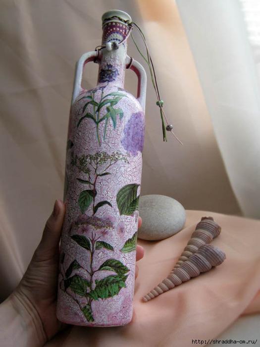декоративная бутылка, декупаж, кракелюр, акрил, Shraddha 3 (525x700, 186Kb)