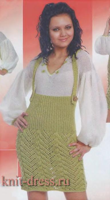Вязаный сарафан для девочки Вязание спицами, крючком, уроки вязания.