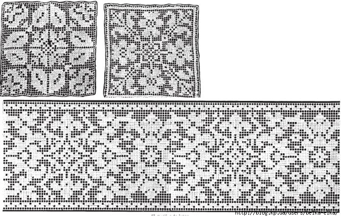 Геометрические филейные узоры для вязания крючком