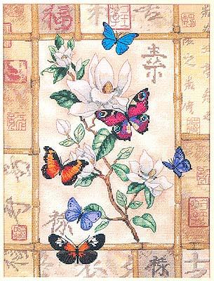 Бабочки на цветке.  Стоимость без оформления: 5000 руб.