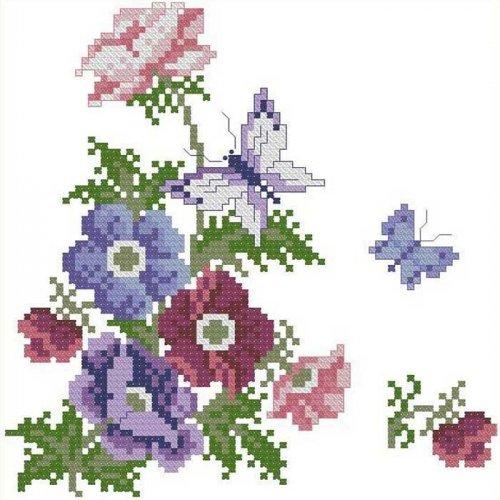 Описание схемы 'Цветочный мотив с бабочками'.  Мне нравится!  Схема для вышивки мотива - цветы и бабочки.