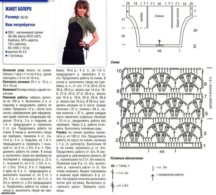 Вязание ажурного болеро спицами с описанием